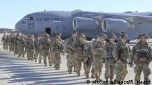 January 1, 2020, Fayetteville, NC, United States: U.S. Army Paratroopers with the 82nd Airborne Division, line up to load onto transport aircraft at Pope Army Airfield January 1, 2020 in Fayetteville, North Carolina. The Immediate Response Force is being deployment to Baghdad following violent protesters that attacked the U.S. Embassy compound. (Credit Image: © Capt. Robyn Haake/Planet Pix via ZUMA Wire |