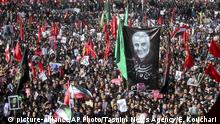 07.01.2020**** Mourners attend a funeral ceremony for Iranian Gen. Qassem Soleimani and his comrades, who were killed in Iraq in a U.S. drone strike on Friday, in the city of Kerman, Iran, Tuesday, Jan. 7, 2020. The leader of Iran's Revolutionary Guard threatened on Tuesday to set ablaze places supported by the United States over the killing of a top Iranian general in a U.S. airstrike last week, sparking cries from the crowd of supporters of Death to Israel! (Erfan Kouchari/Tasnim News Agency via AP) |