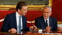 Austria's President Alexander Van der Bellen, designated Chancellor and head of the People's Party (OeVP) Sebastian Kurz sign contracts during the swearing-in ceremony of the new government in Vienna, Austria January 7, 2020. REUTERS/Leonhard Foeger