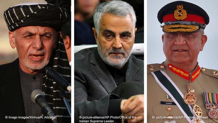 Afghan President Ghani, Iran's Qassem Soleimani, and Pakistan's army chief Qamar Javed Bajwa