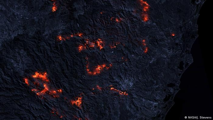 A bushfire in Australia taken from satellite
