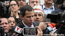Venezuela's National Assembly President and opposition leader Juan Guaido, who many nations have recognised as the country's rightful interim ruler, talks to the media in Caracas, Venezuela January 7, 2020. REUTERS/Fausto Torrealba NO RESALES NO ARCHIVE