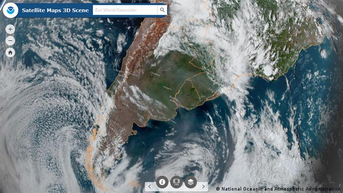 A satellite image of smoke from Australia drifting over South America (National Oceanic and Atmospheric Administration)