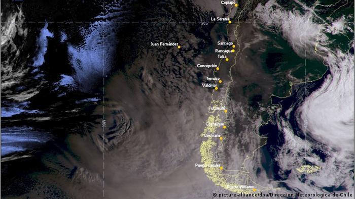 Südamerika Buschbrände in Australien   Rauchwolke über Chile