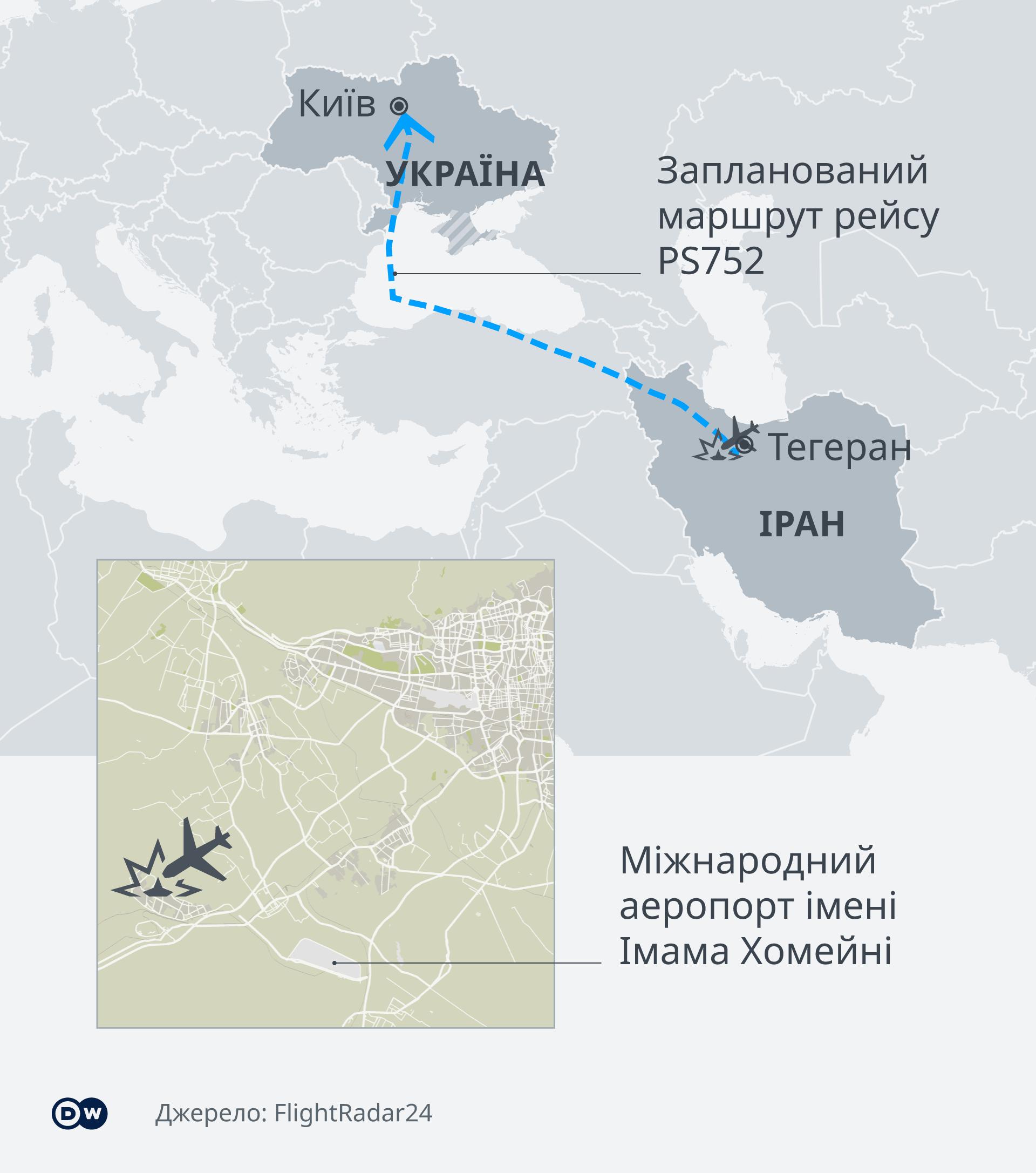 Карта з маршрутом польоту літака рейсу PS752 авіакомпанії Міжнародні авіалінії України