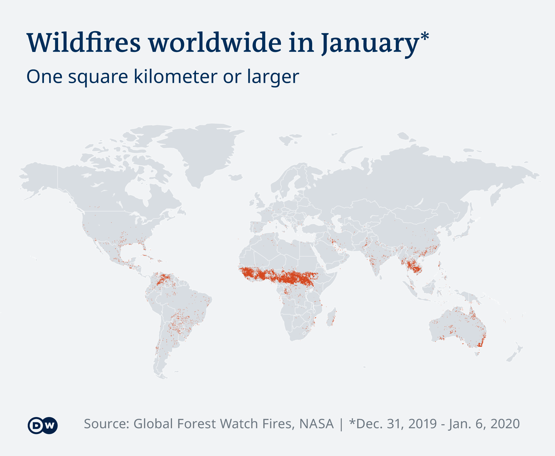Infographic illustrating spread of wildfires globally and a predominance of fires in Africa from December 31, 2019 to January 6, 2020 (DW)