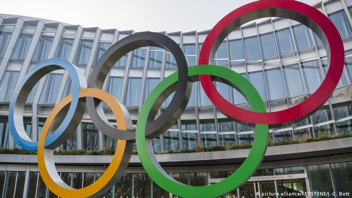 The Olympic Rings are seen outside of the International Olympic Committee building in Lausanne, Switzerland