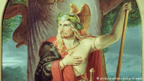 Painting from 1839, Armin, chieftain of the Cherusci, known as Arminius, 16 BC - 21 AD: a long-haired man with half bare chest and winged helmet (picture-alliance/akg-images)