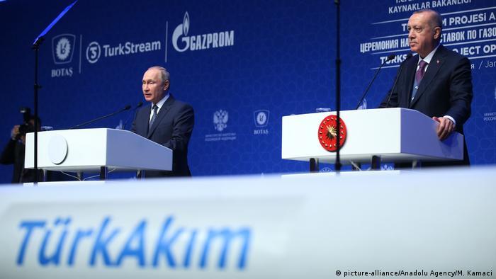 Володимир Путін та Реджеп Таїп Ердоган дають старт Турецькому потоку (Стамбул, 8 січня 2020 року)