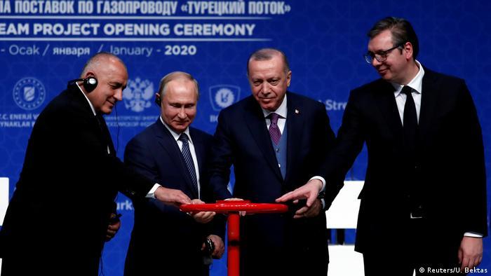 Bulgaristan Başbakanı Borisov, Rusya Devlet Başkanı Putin, Cumhurbaşkanı Erdoğan ve Sırbistan Cumhurbaşkanı Vuciç