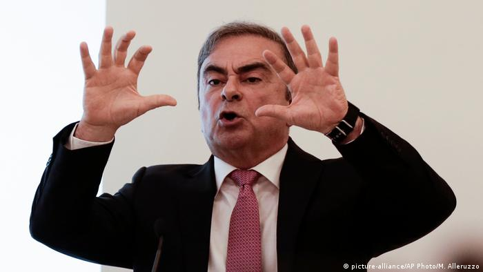 Nissan's former chairman Carlos Ghosn speaks at a press conference in Beirut, Lebanon