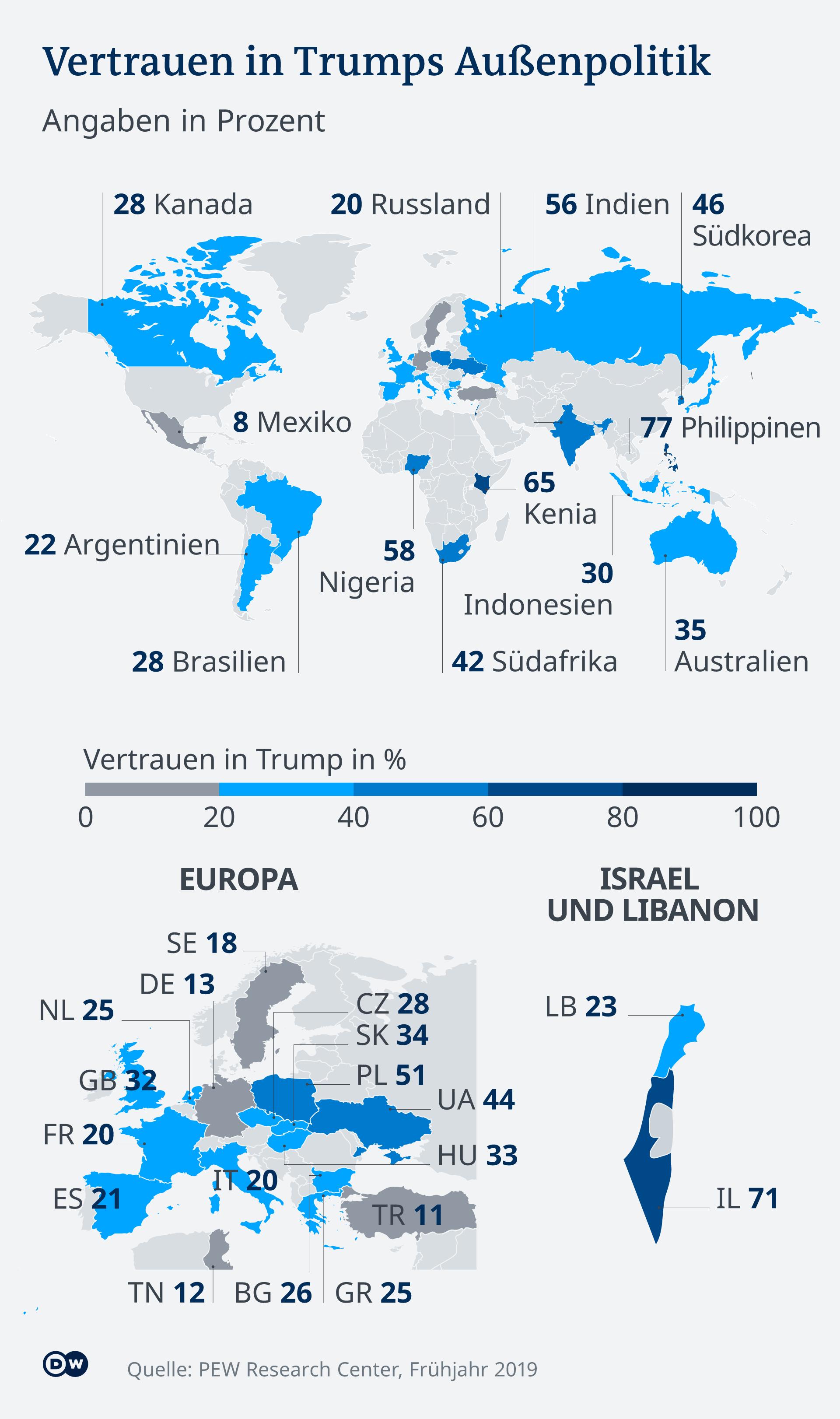 Infografik Karte Vertrauen in Trumps Politik weltweit DE