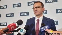 Der polnische Ministerpräsident Mateusz Morawiecki; Briefing nach dem WELT-Wirtschaftsforum in Berlin DW, Anna Widzyk, 8. Januar 2020