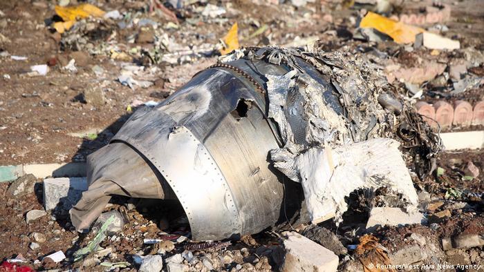 Уламок літака Міжнародних авіаліній України, який зазнав аварії поблизу Тегерана 8 січня