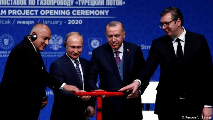 Стамбул, 8 січня 2020 року. Борисов, Путін, Ердоган і Вучич запускають першу нитку Турецького потоку
