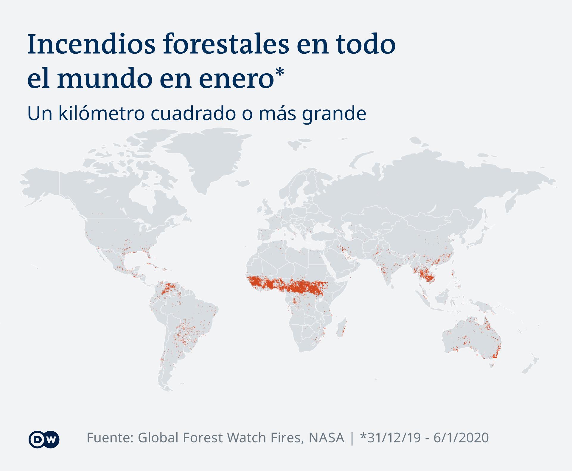 Infografik Karte Waldbrände weltweit ES