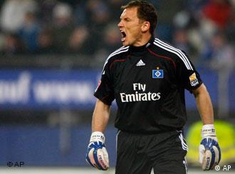 Hamburg's goalkeeper Frank Rost reacts during the German first division Bundesliga soccer match between Hamburger SV and VfB Wolfsburg in the stadium in Hamburg, northern Germany, on Friday, Jan. 29, 2010.