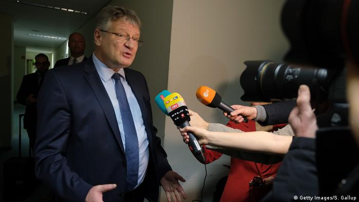 Jörg Meuthen speaking to journalists (Getty Images/S. Gallup)
