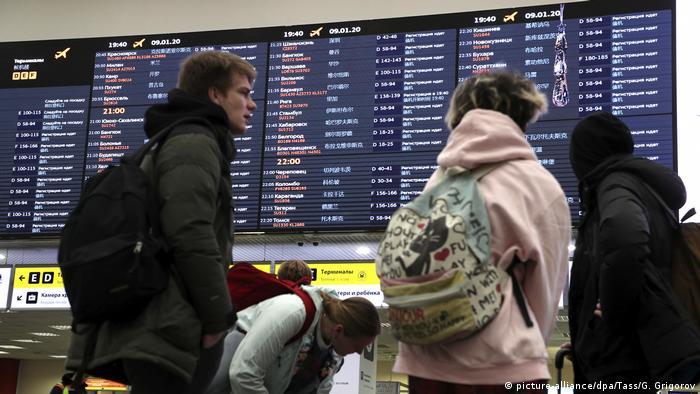 Russland Moskauer Flughafen Scheremetjewo nach Flugzeugabsturz im Iran