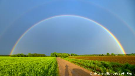 rainbow over fields (picture-alliance/dpa/P. Pleul)
