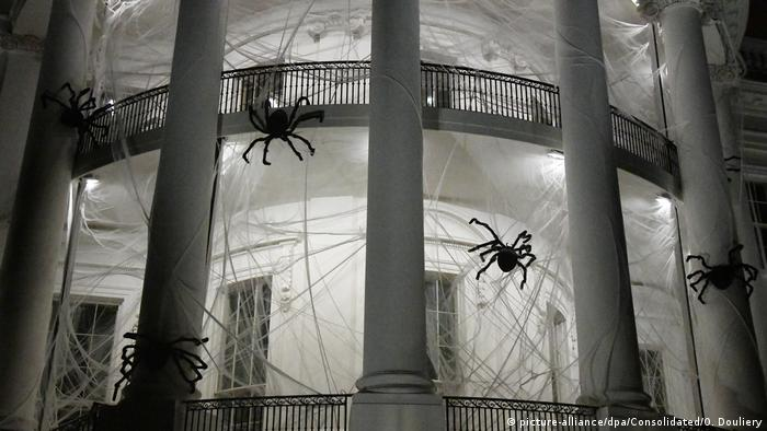 Halloween iat the White house, huge spider webs and spiders (picture-alliance/dpa/Consolidated/O. Douliery)