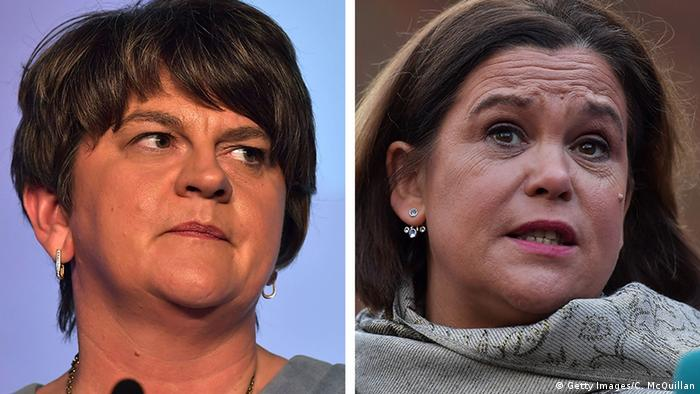 Split-screen photo showing DUP leader Arlene Foster and Sinn Fein leaer Mary Lou McDonald (Getty Images/C. McQuillan)