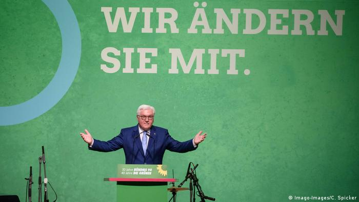 Frank-Walter Steinmeier on stage at an event to mark 40 years of the German Greens