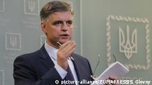Ukraine Kiew | Außenminister Vadym Prystaiko gibt Pressekonferenz zum Absturz der Boeing 737 im Iran