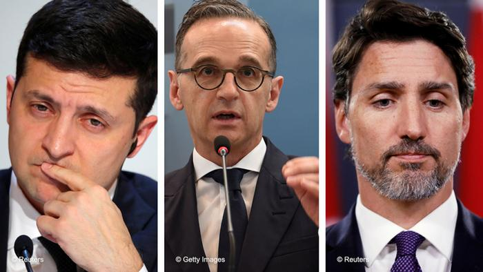 Ukrainian Prime Minister Volodymyr Zelenskiy, German Foreign Minister Heiko Maas, and Canada Prime Minister Justin Trudeau