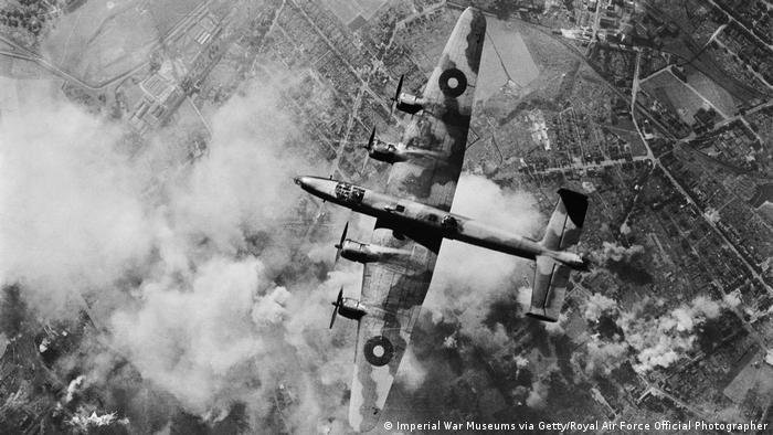 A Royal Air Force Bomber flying over the Ruhr area