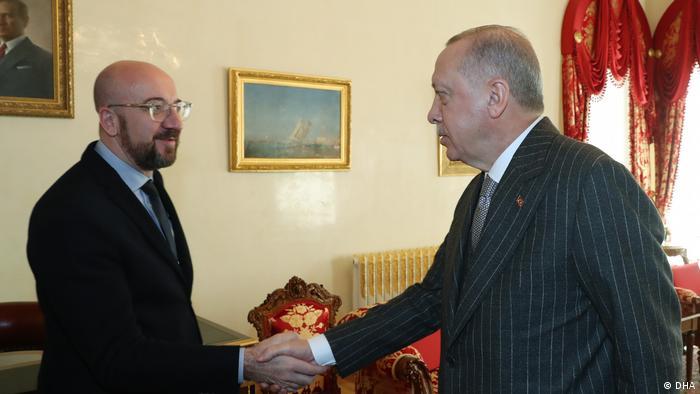 رجب طیب اردوغان، رئیس جمهوری ترکیه و شارل میشل، رئیس شورای اروپا