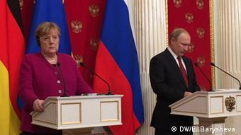 Москва, 11 января 2020 года. Пресс-конференция Ангелы Меркель и Владимира Путина