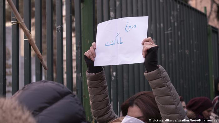 Iran   Trauer und Proteste   Flugzeugabsturz (picture-alliance/dpa/NurPhoto/M. Nikoubaz)