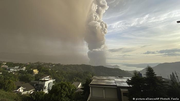 Taal volcano spews ash into the sky