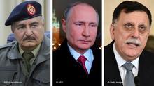 Kombibild - Putin, Khalifa Haftar, Fajis al-Sarradsch