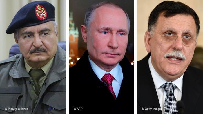 Generał Chalif Haftar, prezydent Rosji Władimir Putin i premier Libii Fajiz as-Saradż