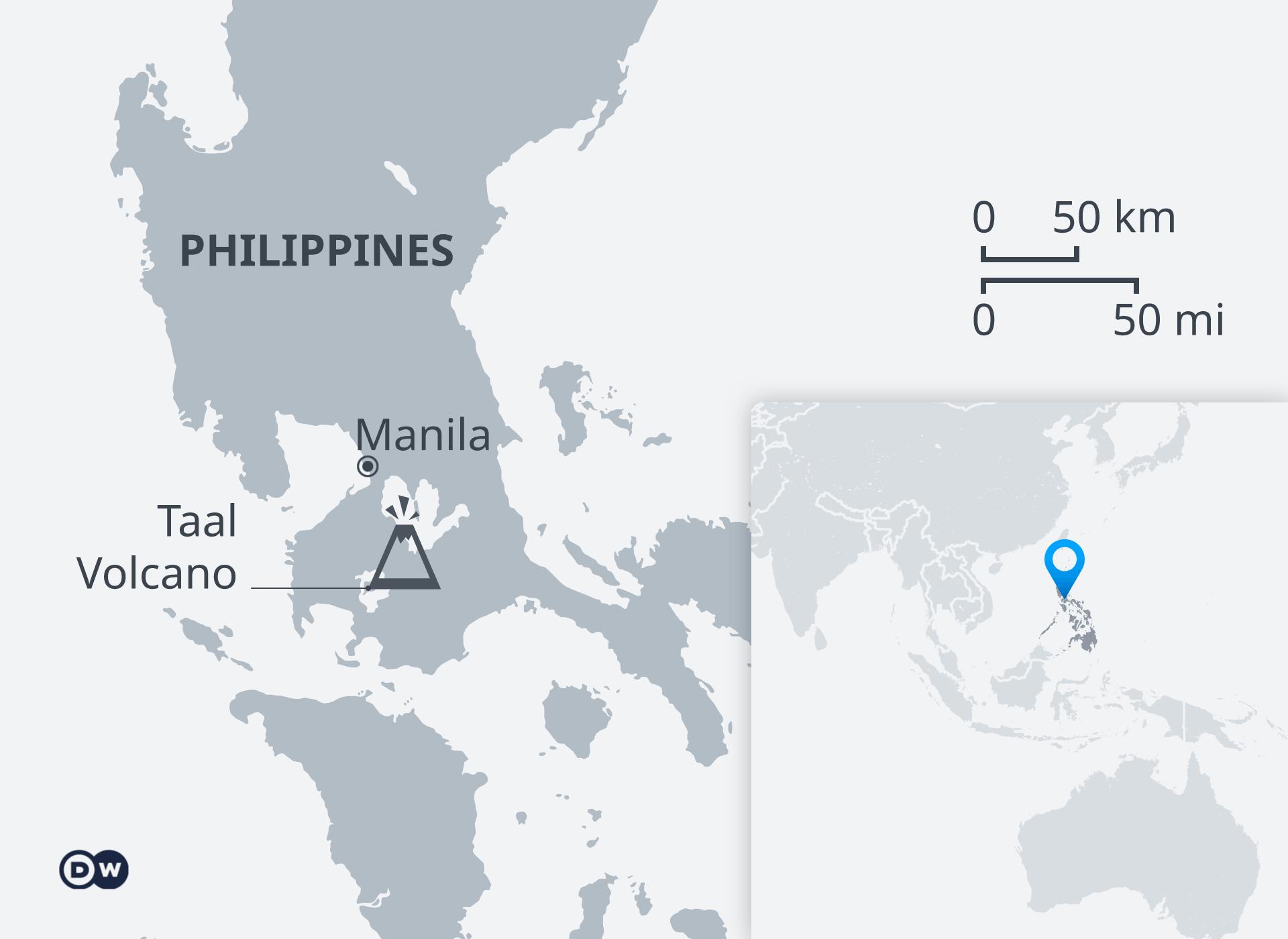 Karte Vulkan Taal Philippinen EN