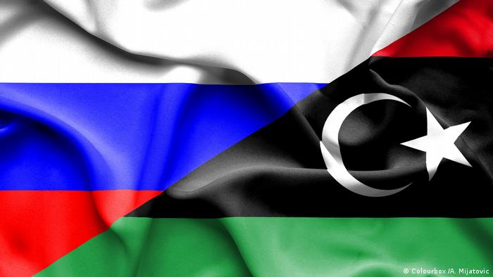 Flagge von Libyen und Russland