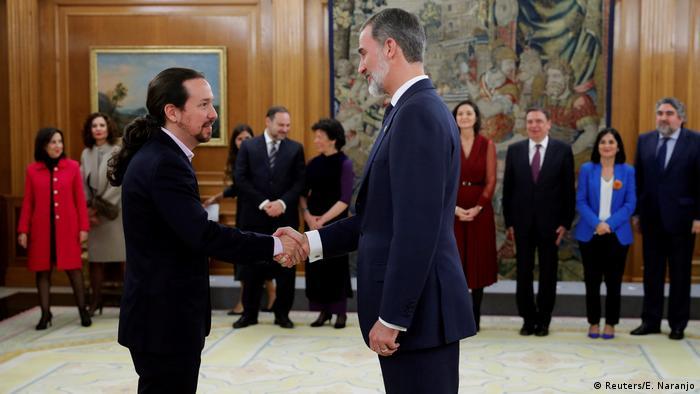 El rey Felipe VI con Pablo Iglesias, de Unidas Podemos. (13.01.2020).