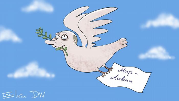Путин като миротворец в Либия - карикатура от Сергей Елкин