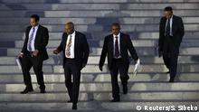 BG Grand Renaissance Dam | Der äthiopische Außenminister Al Dardeery Mohamed Ahmed und seine Delegation verlassen das US-Finanzministerium in Washington (2019)