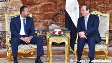180610 -- CAIRO, June 10, 2018 -- Egyptian President Abdel-Fattah al-Sisi R meets with visiting Ethiopian Prime Minister Abiy Ahmed Ali in Cairo, Egypt, on June 10, 2018. Ethiopian Prime Minister Abiy Ahmed Ali vowed on Sunday that Ethiopia will not harm Egypt s share of the Nile River water through the construction of the Grand Ethiopian Renaissance Dam GERD. EGYPT-CAIRO-ETHIOPIA-PM-VISIT MENA PUBLICATIONxNOTxINxCHN