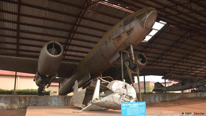An old airplane on display in the war museum in Umuahia
