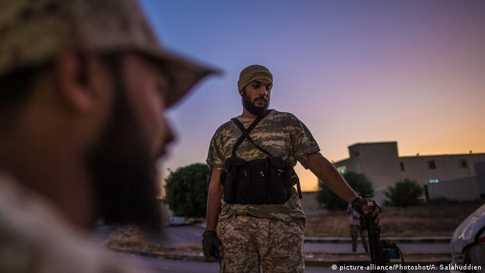 Fighters of the UN-backed Government of National Accord at their base near the frontline in Tripoli