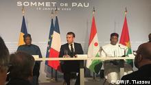 Es sind Bilder von G5-Sahel Gipfel vom 13.01.2020 in Pau in Frankreich. Idris Deby von Tschad, Macron Frankreich, Issoufou von Niger Autor : Kossivi Tiassou