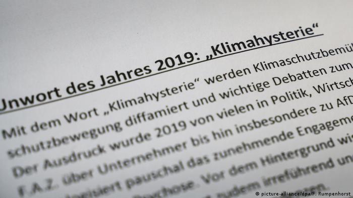 Unwort des Jahres 2019 - Klimahysterie