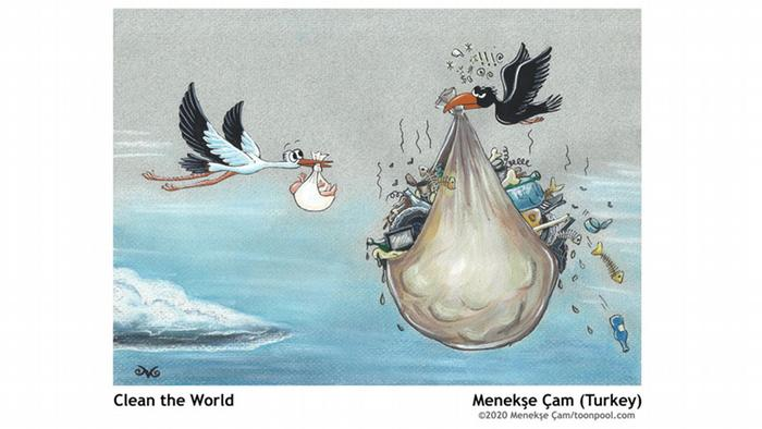 cartoon of a stork with a baby and a raven carrying a huge load of trash Cartoons for Future | Clean the World, Menekşe Çam