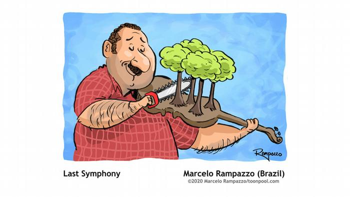 cartoon of man playing a violin with trees on it with a saw Cartoons for Future | Last Symphony, Marcello Rampazzo