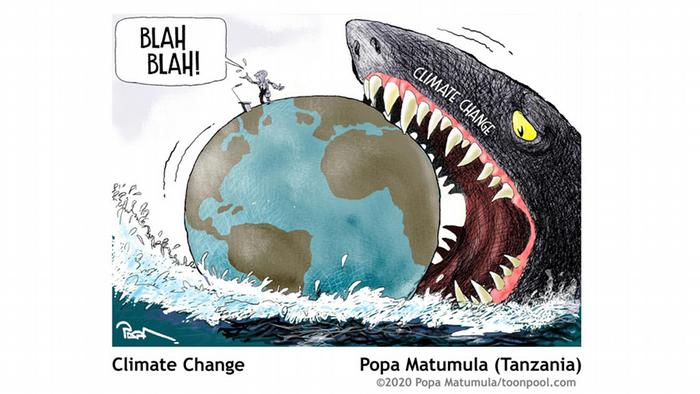 Cartoons for Future | shark with a globe in its mouth Climate Change, Popa Matumula