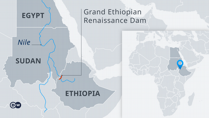 Map showing the location of the Grand Ethiopian Renaissance Dam